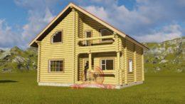 Проект дома 9х10 с отличной планировкой из оцилиндрованного бревна, ЭД-02