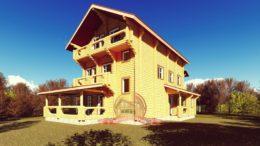Трехэтажный сруб эксклюзивного дома 12х15 из оцилиндрованного бревна, ЭД-05