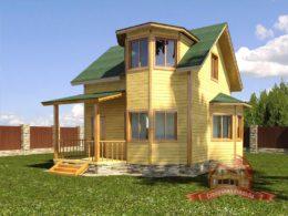 Проект дома из бруса 7х8 с ломаной крышей и панорамными окнами — НБ-41