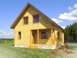Дом из бруса 8х10 для постоянного проживания с большими окнами — НБ-42
