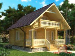 Проект дома из оцилиндрованного бревна 7х9 с сауной, КС-01