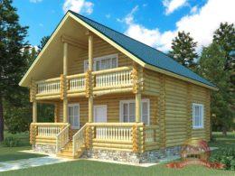 Дом из оцилиндрованного бревна 9.8х9 с террасой, проект КС-03
