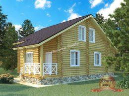 Дом из оцилиндрованного бревна 8х12 с крыльцом и тремя спальнями, КС-09