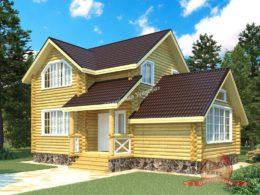 Проект дома из оцилиндрованного бревна 6.8х10.6 метров, КС-13
