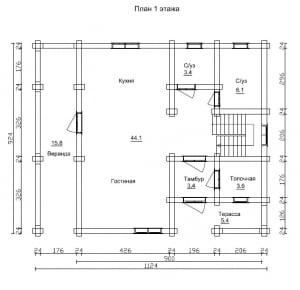 План 1 этажа проекта дома из бревна 9 на 11