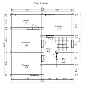 План 2 этажа проекта дома из бревна 9 на 11