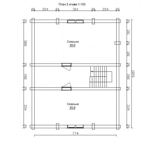 План 2 этажа проекта дома из бревна 8 на 10