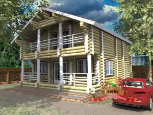 Проект дома из бревна 9 на 8