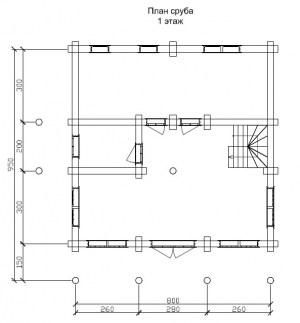 План 1 этажа проекта дома из бревна 9 на 8