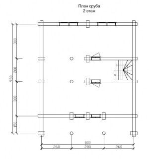 План 2 этажа проекта дома из бревна 9 на 8