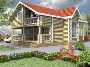 Проект дома из бревна 8 на 12