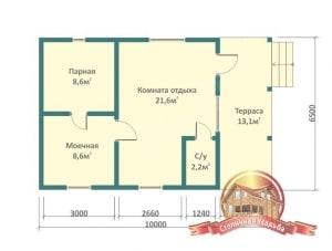 План первого этажа проекта деревянной бани 6х10