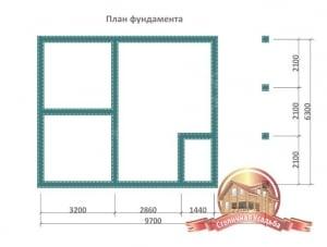 План фундамента для небольшой деревянной бани
