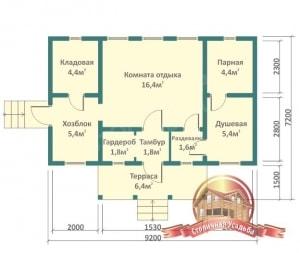 Превосходная планировка первого этажа деревянной баньки