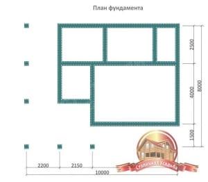 План фундамента для брусовой бани