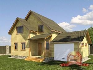Двухэтажный дом из бруса 8х8 с гаражом, проект 8 на 8