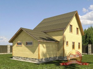 Вид сзади на деревянный домик с гаражом