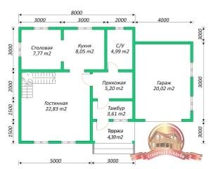 План первого этажа проекта деревянного дома с гаражом