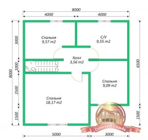 План второго этажа проекта дома из бруса  8х8