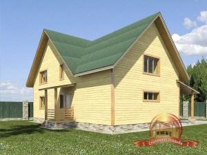 Деревянный дом коттеджного типа с гаражом