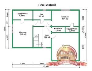 План второго этажа проекта дома из бруса 8х10 в 2 этажа с гаражом и котельной