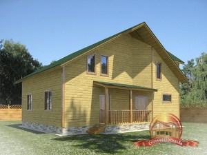 Вид на крыльцо проекта деревянного домика для дачи 11х11