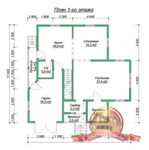 План первого этажа проекта дома 11х11 из бруса с гаражом в два этажа
