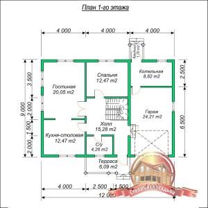 План первого этажа большого проекта дома из бруса 9х12 с гаражом и котельной, 2 этажа