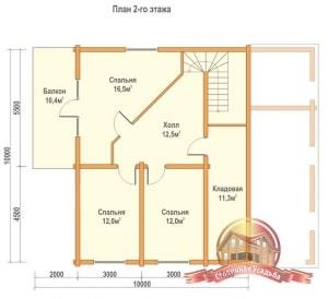 План 2 этажа проекта двухэтажного дома 10х13 из профилированного бруса с гаражом
