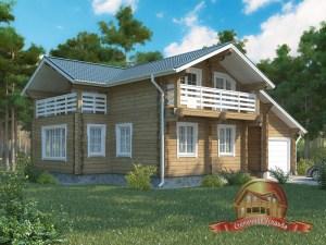 Двухэтажный дом 10х13 из профилированного бруса с гаражом - проект