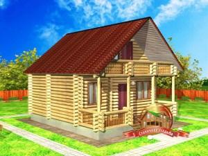 Проект дома из бревна 7 на 8 метров