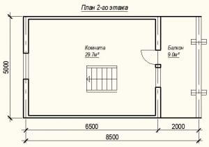 План 2 этажа проекта дома из бревна 7х8 метров