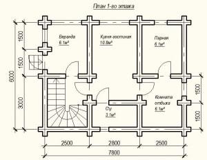 План 1 этажа проекта дома из бревна 6х8 метров