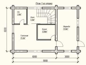План 1 этажа проекта дома из бревна 6х9