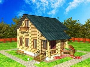 Проект дома из бревна 6 на 8