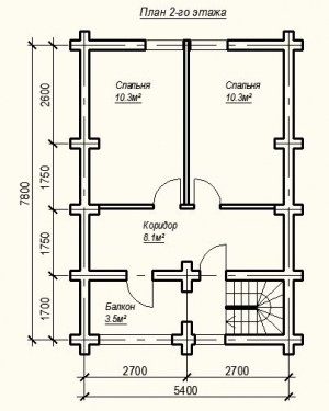 План 2 этажа проекта дома из бревна 5х8 метров