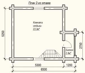План 2 этажа проекта дома из бревна 5х6 метров