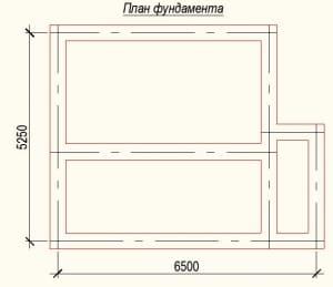 План фундамента проекта дома из бревна 5х6 метров