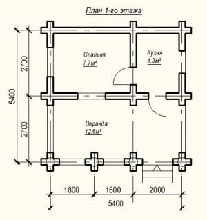 План 1 этажа проекта дома из бревна 5х5 метров