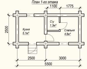 План 1 этажа проекта дома из бревна 2,5 на 5,5 метров