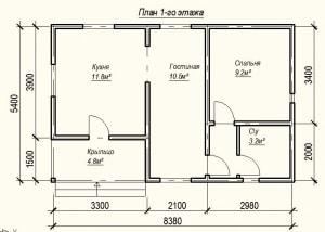 План 1 этажа проекта дома из бревна 5х8 метров