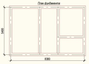 План фундамента проекта дома из бревна 5х8 метров