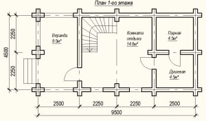 План 1 этажа проекта дома из бревна 4х9