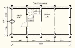 План 2 этажа проекта дома из бревна 4х9