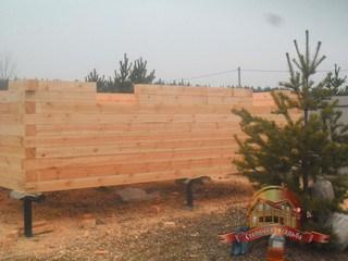 Собрали 10 рядов деревянного дома из бруса