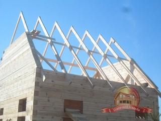 6 стропил с обоих скатов, 2 фронтона крыши