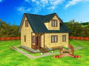 Внешний вид брусового дома 9 на 7 с кукушкой и двускатной крышей