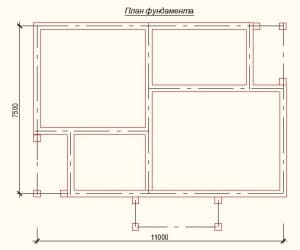 План фундамента проекта дома из бруса 7х11 метров