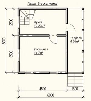 Планировка дома из бруса 6 на 6 метров - 1 этаж