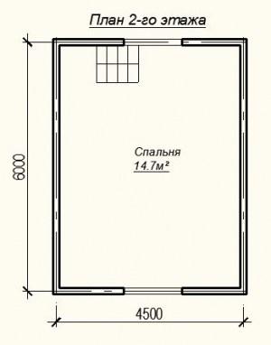 Планировка дома из бруса 6 на 6 метров - 2 этаж